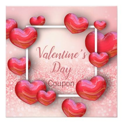 ValentineS Day Red Hearts Glitter Coupon Card  Valentines Day