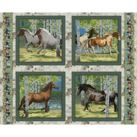 Wild Wing Rivers Edge Horse Pillow Panel Cotton Fabric
