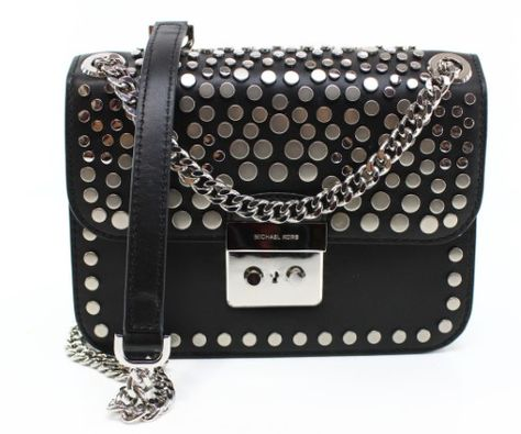 31ca3d73a9f6 Michael Kors Black Silver Leather Medium Sloan Chain Shoulder Bag ...