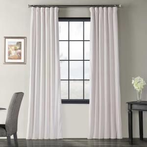 Exclusive Fabrics Furnishings Blackout Signature Off White Blackout Velvet Curtain 50 In W X 96 In L 1 Panel Vpch 110602 96 The Home Depot Half Price Drapes Panel Curtains Velvet Curtains