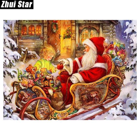 5d Diy Diamond Painting Santa In Old Time Painted Sleigh Craft