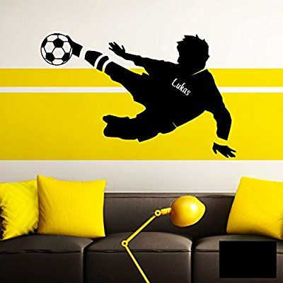 Fussball Wandtattoo Kinderzimmer Fussballspieler Wunschname Aufkleber No.1