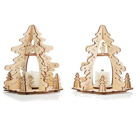 Elambia Flammenlose Kerzen 3d Holz Dekoration Timerfunktion H Ca