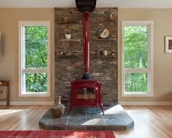Contemporary Fireplace With Woodstove Insert In Antique Home