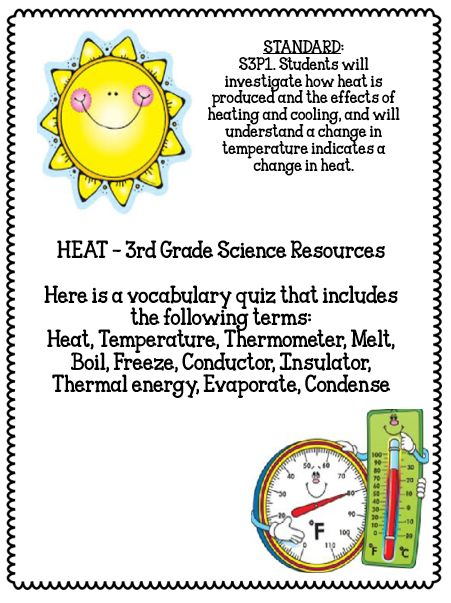 Heat Energy 3rd Grade Science Experiments Vocabulary Quiz