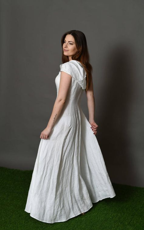 Wedding Linen Dress Maxi White Linen Dress Pockets Sleeves Circle Skirt 25 Colors Avalable Free Shipping Bengidesign In 2019 White Linen Dresses White Maxi Dresses