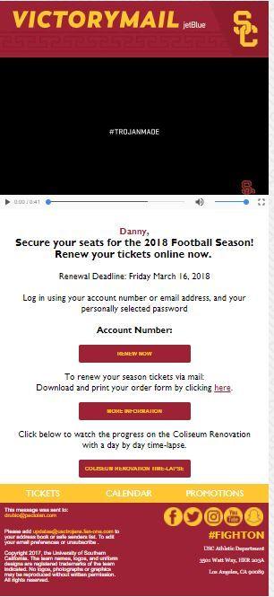 Usc Season Ticket Renewals Online Tickets Season Ticket