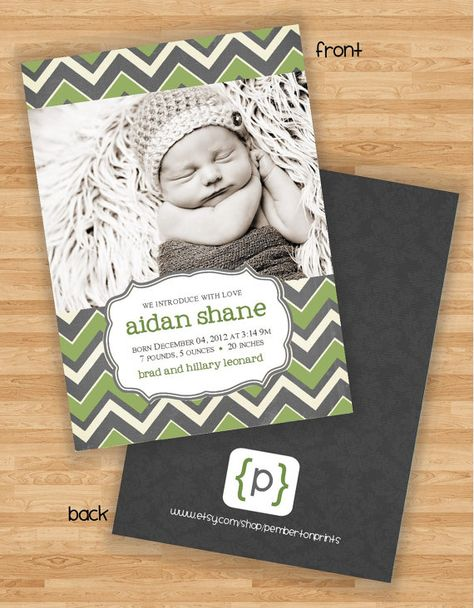 Double Sided Baby Boy Birth Announcement  by PembertonPrints, $20.00