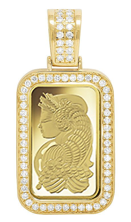 24k Yellow Gold Lady Fortuna 10 Grams Bar Diamond 1 Row Frame Pendant 1 25 Ct Gold Bar Pendant Gold Mangalsutra Designs Gold Jewellery Design
