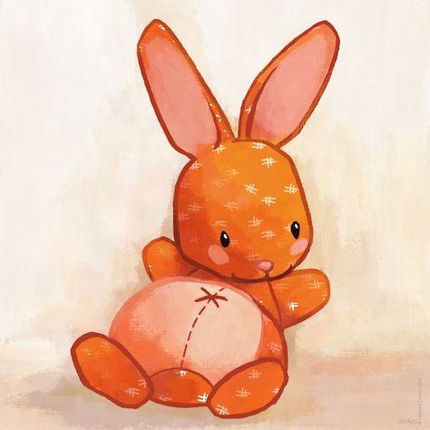 Le lapin dans la lune - Non dairy Diary - Orange bunny and freeshipping