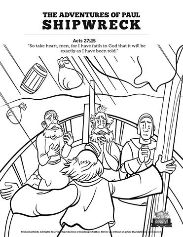 Acts 27 Shipwreck Sunday School Coloring Pages: Coloring