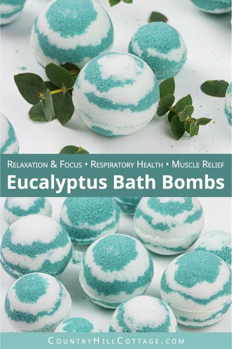 This easy homemade eucalyptus bath bombs recipe looks pretty in water and is very relaxing, perfect for at home wellness! Pretty fizzy essential oil bath bombs without cornstarch are beneficial to relieve respiratory problems, sinus congestion. Fizzy Bath Bombs, Homemade Bath Bombs, Homemade Soap Recipes, Diy Bath Bombs Easy, Essential Oil Bath Bombs, Essential Oil Scents, Bath Bomb Packaging, Bath Fizzies, Bath Salts