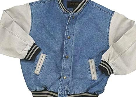 Port Authority Denim And Twill Letterman Jacket Light Blue Khaki 40 Liked On Polyvore Featuring Oute Light Blue Jacket Lined Denim Jacket Twill Jacket