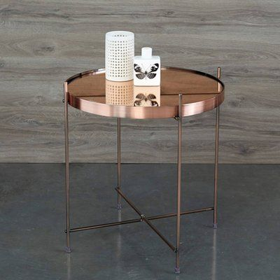 Table Basse Gueridon Metal Plateau Miroir Cupid Zuiver