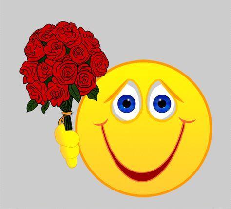 Rosen Schenken Mit Herz Gif 500 453 Smiley Blumen Smiley