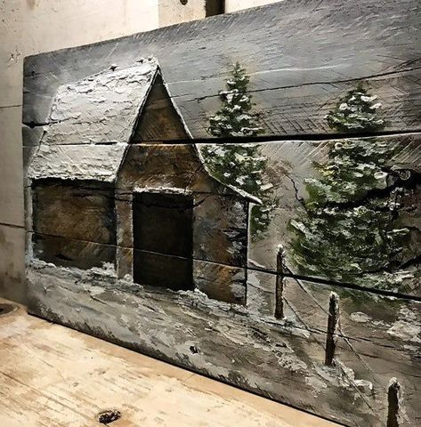 Wood Pallet Art, Reclaimed Wood Art, Pallet Painting, Old Wood, Wood Pallets, Barn Wood, Painting On Wood, Rustic Painting, Country Wall Decor