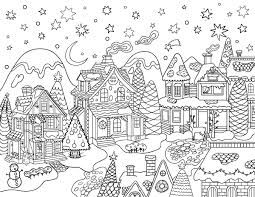 Christmas Village Coloring Pages Free Printable Christmas Village