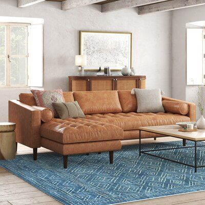 Tan Leather Sofas, Genuine Leather Sofa, Distressed Leather Sofa, Leather Sectionals, Chaise Sofa, Sectional Sofa, Couches, Home Living Room, Living Room Decor
