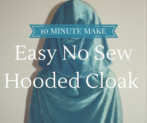 Make Your Own: Super Simple No Sew Kids Hooded Cloak World book day costume ideas. No sew cape. No sew cloak. Easy dress up ideas. Little Red Riding Hood cape tutorial. Cape Tutorial, No Sew Cape, Diy Cape, Capes For Kids, Diy For Kids, Red Riding Hood Costume Kids, Hooded Cloak Pattern, Fairy Godmother Costume, Godmother Dress