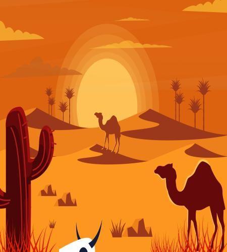 تصميم رسم صحراء مع الغروب الساحر ملف مفتوح Desert Drawing Cartoon Design Graphic Design Logo