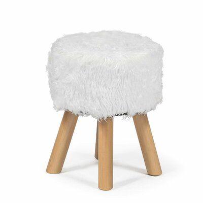 Sheepskin stool Brown stool Fur Stool Wood Stool Vanity Stool Birch tree stool Sheepskin pouf