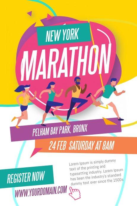 Marathon Run Fun Poster Template Fundraising Poster Sport Poster Design Marathon Posters