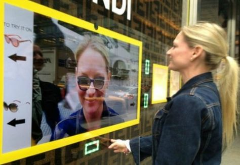 Shoppers can virtually try on designer sunglasses outside Bloomingdale's