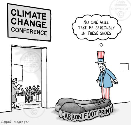 Carbon Footprint Climate Change Conference Cartoon Gif 450 430