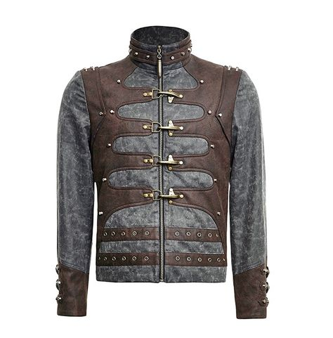 Rebelsmarket steampunk zipped short punk jacket with stand up jackets 8