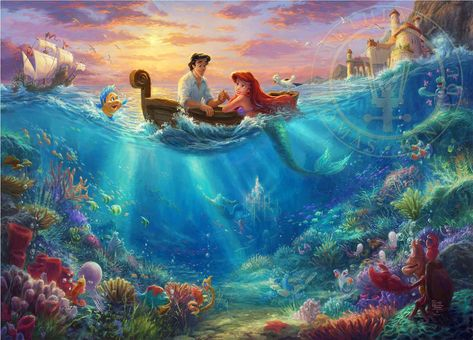 The Little Mermaid Falling in Love Thomas Kinkade Disney Dreams Collection Studios