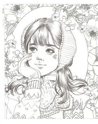 Girls With Poem By M O M O G I R L Korean Coloring Book Coloring Books Colorful Drawings Cute Coloring Pages