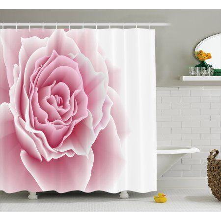 Light Pink Shower Curtain Romantic Rose Petals Beauty Bouquet