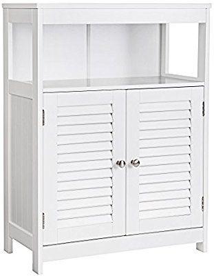 Amazon Com Songmics Bathroom Cabinet Storage Floor Cabinet Free Standing With Double Shut Adjustable Shelving Bathroom Storage Cabinet Bathroom Floor Cabinets