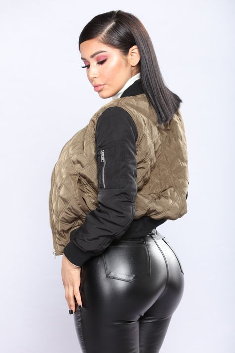 Janet Guzmán killing it in this Make Up Your Mind Bomber Jacket - Black/Olive