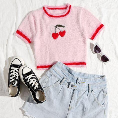 Cherry Pattern Fluffy Knit Top