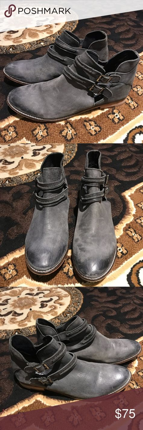 6dcb05d32 Free People Gray Ankle Boots These boots are intentionally distressed for a  cute rustic look.