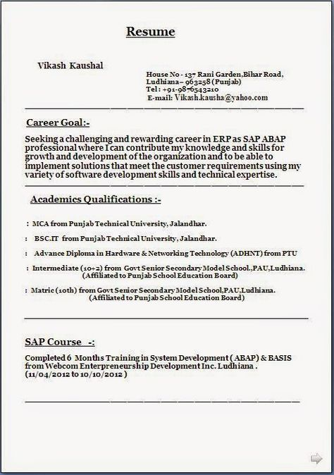 Sap Basis Resume Download Format Of Resume Sample Template Example Ofexcellent .