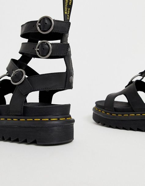 Dr Martens Adaira gladiator leather chunky sandals in black