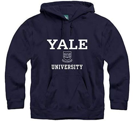 Ivysport Hoodie Sweatshirt, Premium Cotton, Classic Arch with University Crest Logo - Yale - Navy / XX-Large