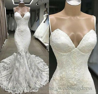 Details About Plus Size Mermaid Wedding Dresses Arabic Spaghetti Lace Appliques Bridal Gowns Vestidos De Novia Vestidos Proyectos De Costura
