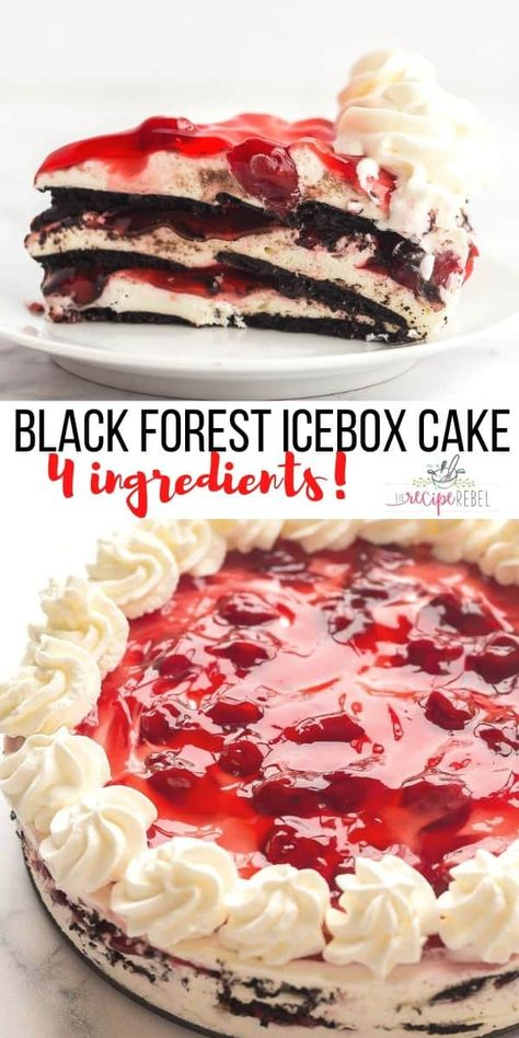 This No Bake Black Forest Icebox Cake is an easy no bake dessert that is perfect for summer! Just FOUR ingredients video! #iceboxcake #dessert #nobake #cherries #recipe