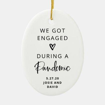 Pandemic wedding christmas ornament