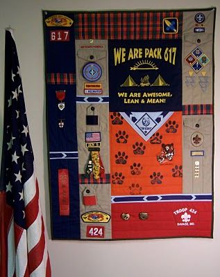 Scout Memory Quilt-  I LOVE this idea!!  Much better than the shadow box that I was planning on making...