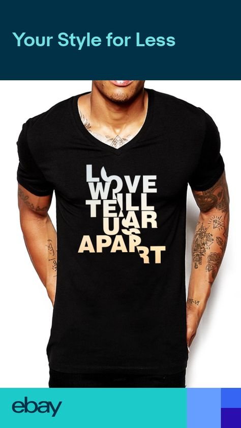 Love Will Tear Us Apart V Neck T Shirt Deep Slim Fitted Mens Holiday Top Ibiza