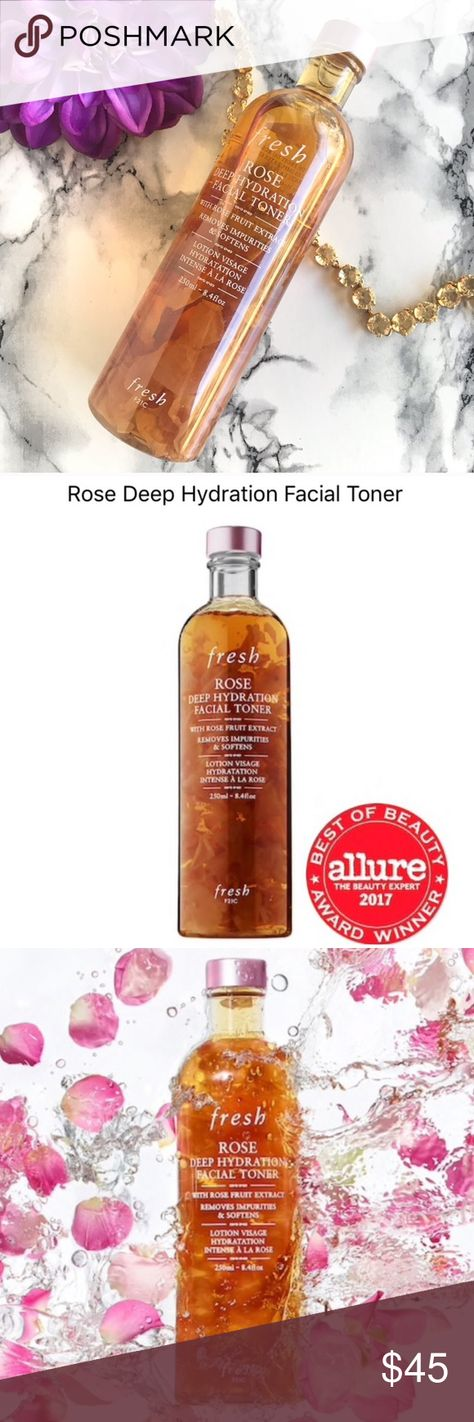 🆕NEW✨ FRESH Deep Hydration Facial Toner 🍃 🆕NEW✨ FRESH Deep Hydration Facial Toner 🍃 8.4oz / 250ml Brand New, Sealed, No Box, 🍃 Alcohol-Free toner with Real Rose Petals and Hyaluronic Acid that minimizes pores while deeply hydrating.  ———> Please note SIZE!  <——— ✨NO TRADE 💕Always NEW, Always AUTHENTIC✨ 💕 Come check out my NARS  * TOO Faced * Tarte * Urban Decay * Marc Jacobs * Bobbi Brown * BECCA * DIOR * Givenchy and More 💕 fresh Other