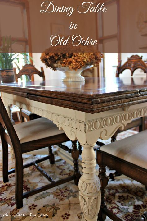 A 1930 S Jacobean Dining Table Becomes The Latest Painted Furniture Piece In Painted Dining Room Table Dining Table Makeover Antique Dining Tables