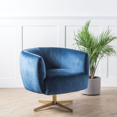 Fantastic Tarnby Swivel Accent Chair Navy Blue In 2019 Chair Caraccident5 Cool Chair Designs And Ideas Caraccident5Info