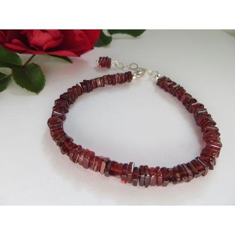 Garnet bracelet, Friendship Bracelet, January birthstone bracelet, Red... (€40) ❤ liked on Polyvore featuring jewelry, bracelets, polish jewelry, sterling silver garnet jewelry, red garnet jewelry, red jewelry and precious stone jewelry