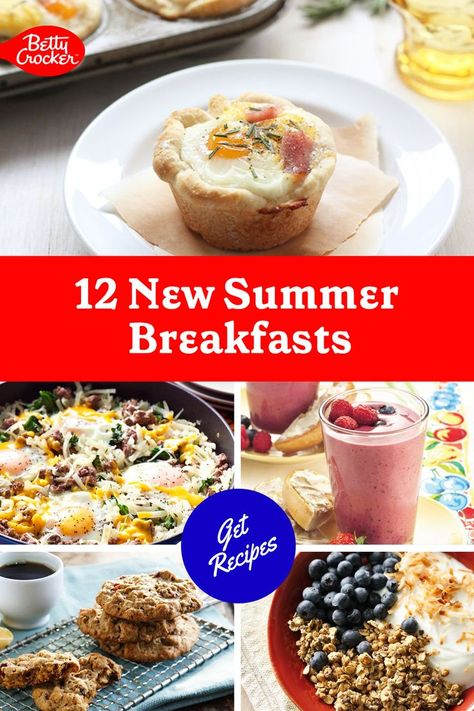 Our 12 New Summer Breakfasts feature delicious breakfast ideas such as smoothies, skillets, pancakes and more. Pin today for great breakfast ideas.