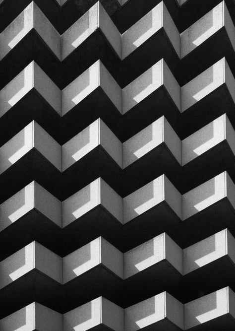 Geometric black and white architecture.